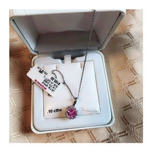Jewelry - Diamonds&Pink Sapphire Pendant and SS Necklace